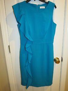 e1b229db Calvin Klein Women's Teal Green Side Ruffle Sheath Dress Stretch ...