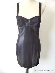 JOSEPH-Women-039-s-Dress-rrp-950-00-Wool-And-Leather-Pinafore-Size-38-AU-8-US-4
