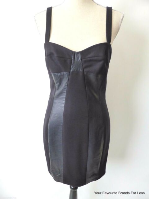 JOSEPH Women's Dress rrp $950.00 Wool And Leather Pinafore Size 38 AU 8 US 4