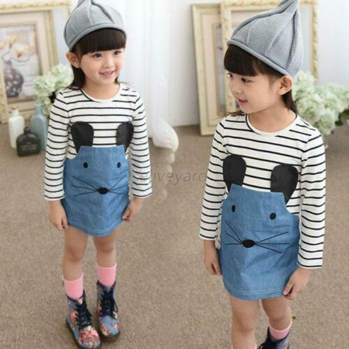 Toddler Baby Girls Summer Long Sleeve Striped Dress Party One-piece Dress 2-6Y