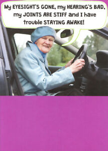 Image Is Loading Old Lady Behind Steering Wheel Funny Recycled Paper