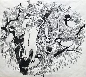 Karl-adser-1912-1995-meisen-Paridae-en-el-arbol-en-las-ramas-buscar-comida-natural