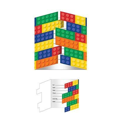 8 x Lego Inspired Block Birthday Party Invitations & Envelopes