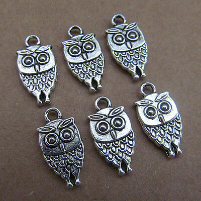 20-100pcs 19mmx9mm Antique Alloy Silver Owl Making Jewelry Charms Pendants