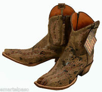 400 New LUCCHESE (Diva) Coffee Lunar Calf Ankle Cowboy Boots Womens 7 B $440
