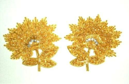 """K8273 GOLD FLORAL MIRROR PAIR BEADED APPLIQUES 3.5/"""""""