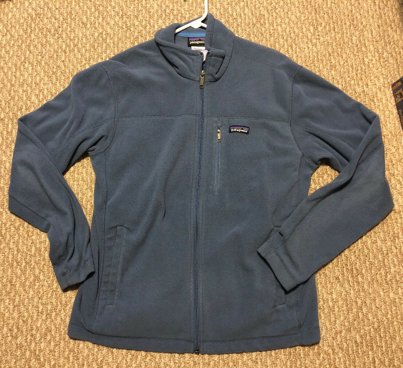 Herren Medium Blau Long Sleeve Full Zip Fleece Patagonia Sweater