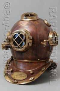 "Maritime Fine Morse Us Navy Mark V Diving Divers Helmet Copper & Brass Full Size 18"" Gift Vh07"