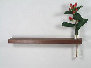 Mini-Wandregal-Reagenzglas-Vase-Nussbaum-30cm-Wandvase-Regal-Wandboard-Board