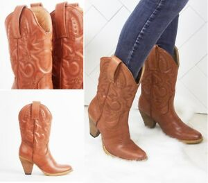 Femmes-Neuf-Simili-Cuir-Cowboy-Western-Style-Bottines-Chaussures-Bottes-Taille