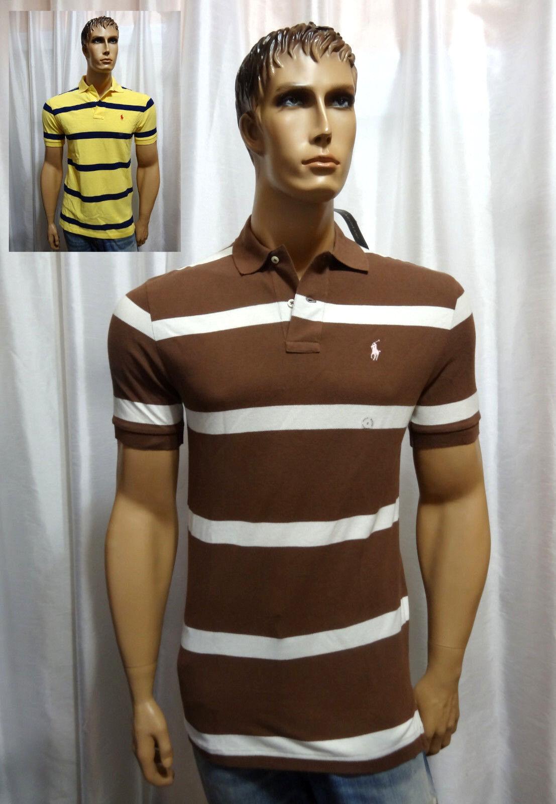 Polo Ralph Lauren classic fit wide stripe cotton mesh polo shirt S XXL NEW