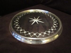 Silver-Round-Mirrored-Perfume-Vanity-Tray-Etched-starburst-11-across-Heavy