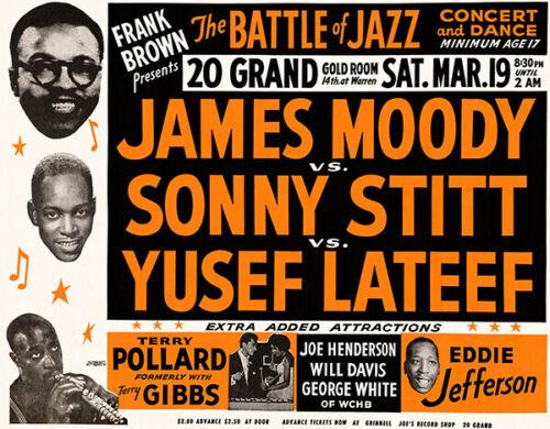 Sonny Stitt Yusef Lateef 1955 Concert Poster James Moody Battke Of Jazz
