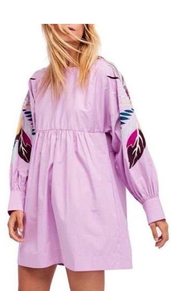 NEW Free People Mini Obsessions Mini Embroidery Dress Lavender Größe M