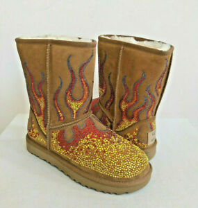 61e8000e15be UGG X JEREMY SCOTT WOMEN CRYSTAL FLAME CHESTNUT BOOTS US 7   EU 38 ...