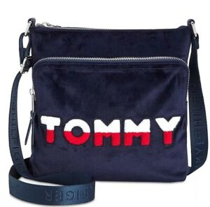 Details About New Tommy Hilfiger Velvet North South Crossbody Navy Red White Messenger Bag