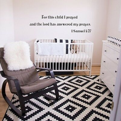 For This Child I Prayed Wall Decal Inspired Bible Word Baby Room Removable Decor
