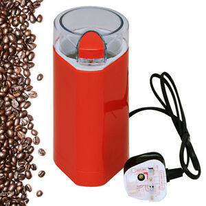 ELECTRIC-BEAN-amp-DRY-SPICE-COFFEE-GRINDER-MIXER-CRUSHER-RED-WITH-CLEAR-LID-150W