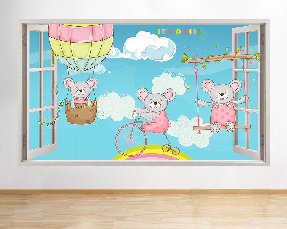 G568 Cute Girls Nursery souris bébé fenêtr Autocollant Chambre 3D Vinyle enfants