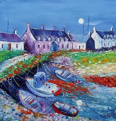 MOONLIGHT ARINAGOUR COLL : HEBRIDEAN COLOURIST  OIL PAINTING : NATALIE SOUTER