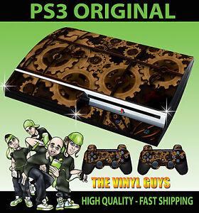 Playstation Ps3 Original Autocollant Engrenages Steampunk Victorien Skin & 2 Pad