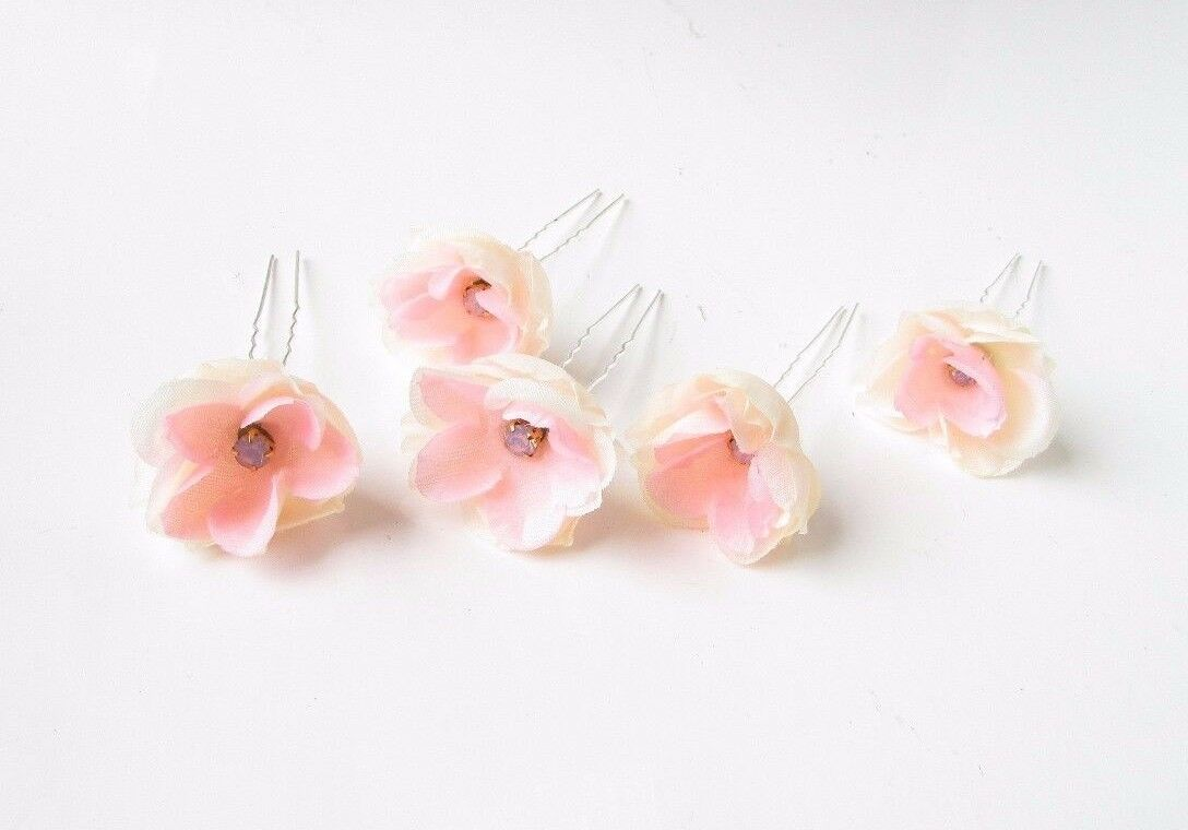 5 x Blush Light Pink Tropical Orchid Flower Hair Pins Set Bridal Bridesmaid 3564