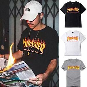 2018 new Top Thrasher shirts Skateboard Tide Trasher Magazine Flame ... 3c013a49e