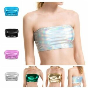 Moda-mujeres-Crop-Top-Bustier-Envuelto-metalico-Tubo-chaleco-sin-mangas-Prenda-para-el-torso-Blusa