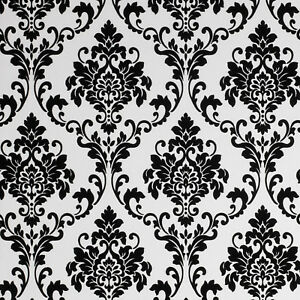 Image Is Loading Exclusive Cashmere Flock Velvet Black White Glitter Damask