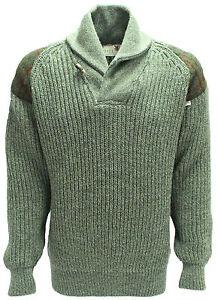 Chunky knit Shawl Collar Sweater Harris Tweed patch British Wool # 4112...