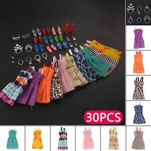 30 Dolls Set Pieces Barbie Doll Dresses Shoes & Hangers Clothes Set Uk