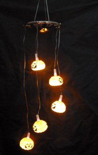 70cm From Top To Bottom Light Up Halloween Pumkin Mobile 5 White LED Lights