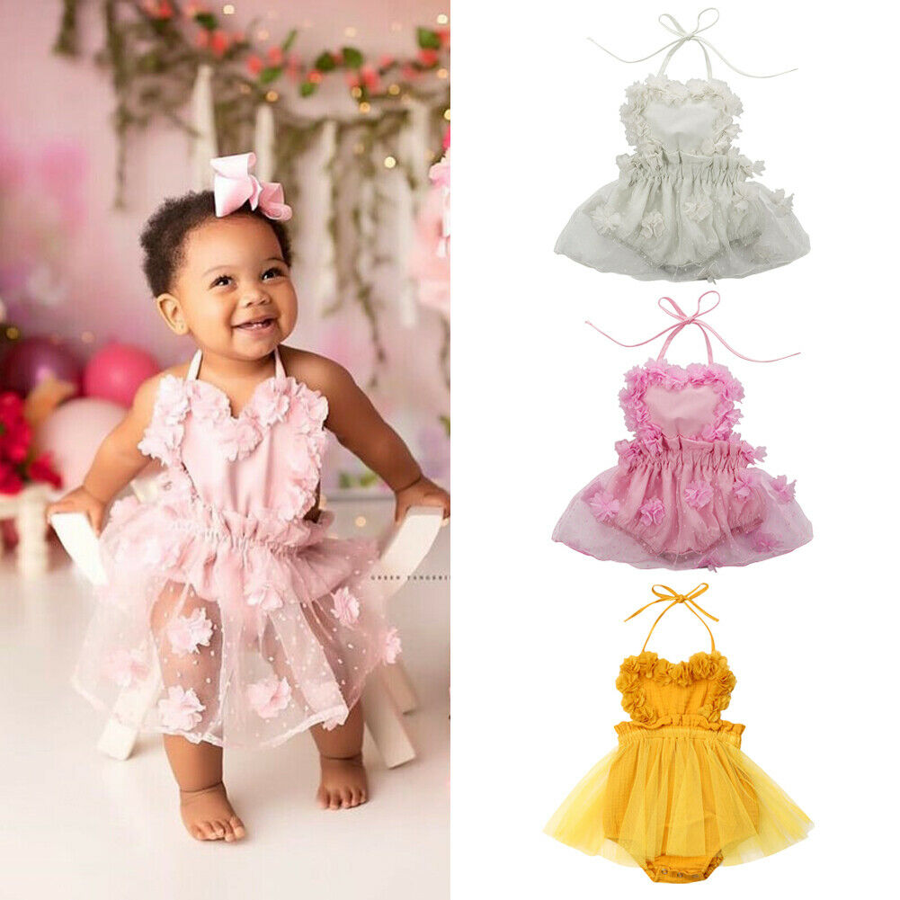 US Newborn Kid Baby Girls Lace Clothes Dress Romper Jumpsuit Bodysuit Outfit Set