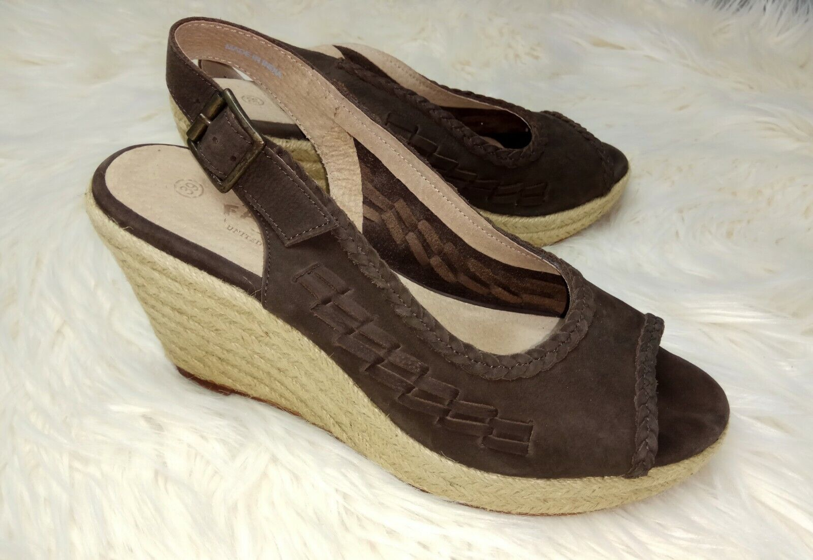 5d855b64470 Face ladies brown suede leather espadrille sling back wedge sandals ...
