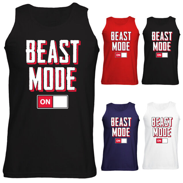 Mens Beast Mode On Off Funny Slogan Vest Tank Top S-XXL