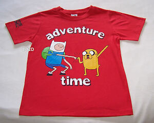 Adventure-Time-Finn-amp-Jake-Boys-Red-Printed-T-Shirt-Size-14-New
