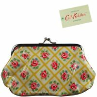 Cath Kidston Clasp Purse Quilted Rose (mustard) Oil Cloth 100% Authentic