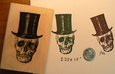 Skull with top hat rubber stamp P34