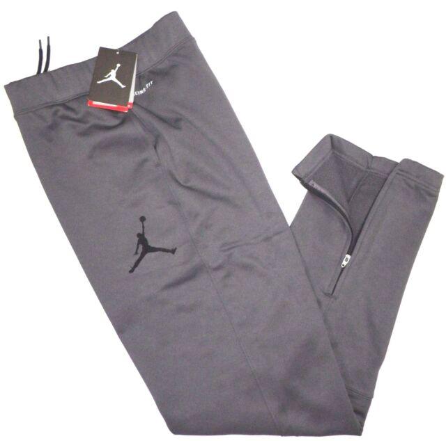 dc319946624008 NIKE AIR JORDAN Boys Jumpman THERMA FIT Zip Sweat Pants GRAY Youth L 12-13