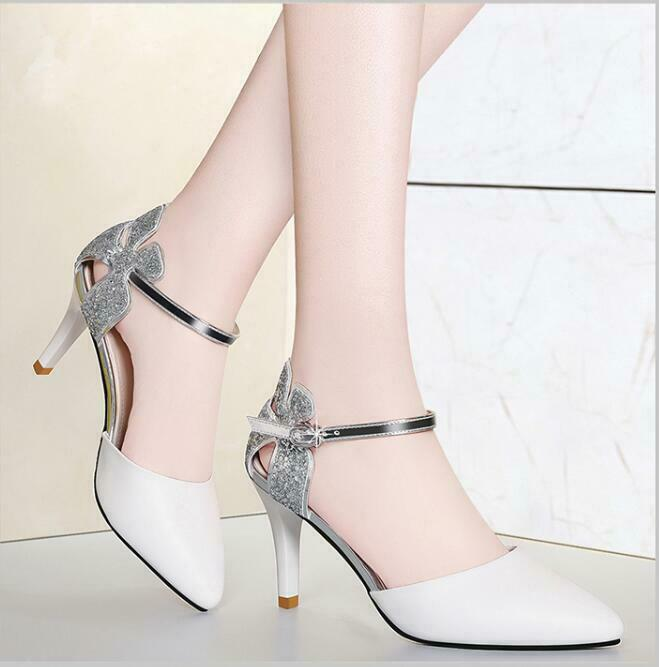 Women Fashion Stiletto Heels Pointy Toe Ankle Strap Hollow Out Shinning Sandals