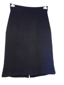JOBIS Dark Grey Wool Cashmere Mix Grey Stretchy Calf Length SKIRT - Size 16 (42)