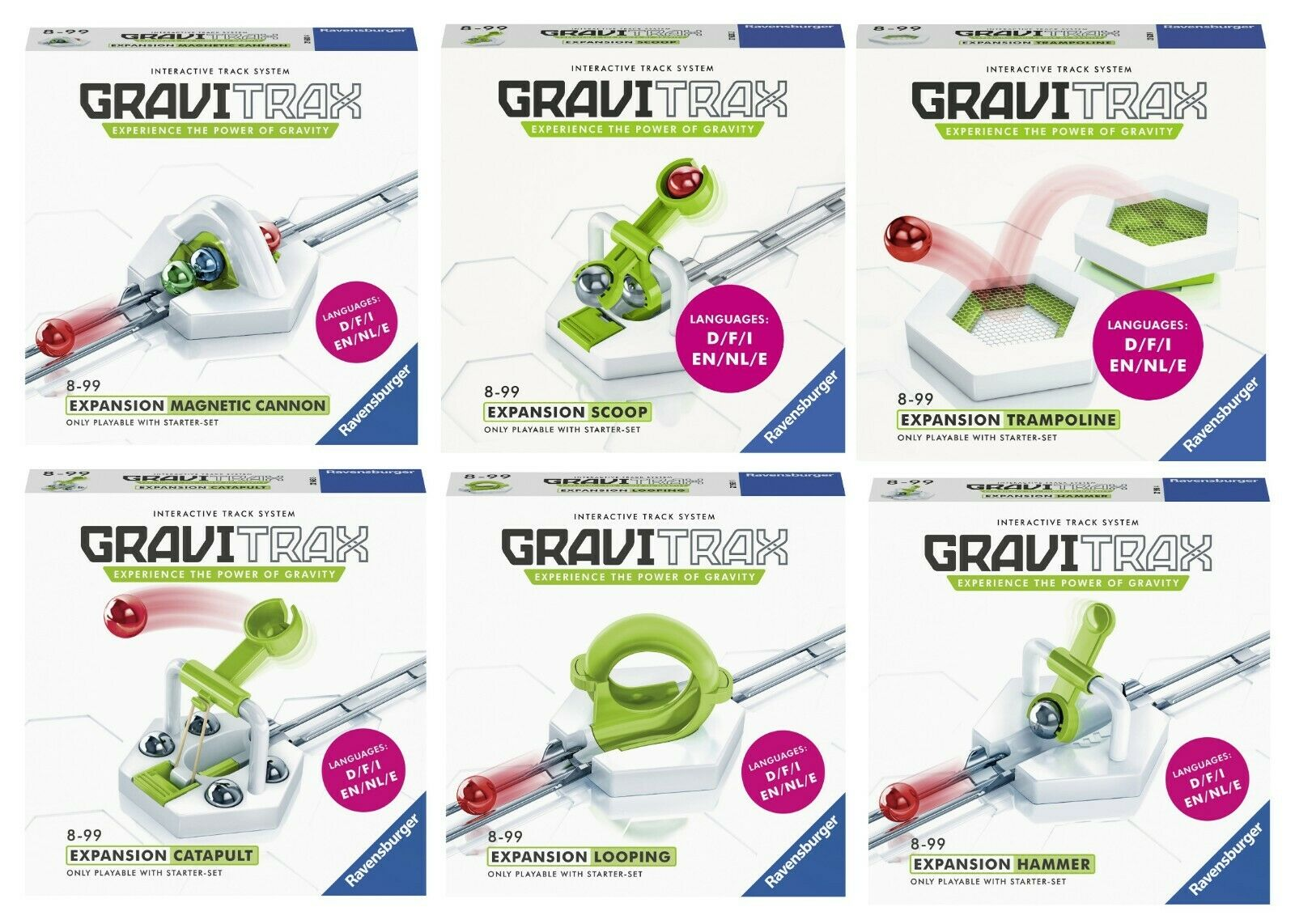 GRAVITRAX 6 EXTENSIONES  Looping, Hammer, Cannon, Catapult, Scoop y Trampoline