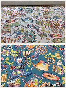 Funky Flowers Duckegg Cotton Curtain//Craft Fabric