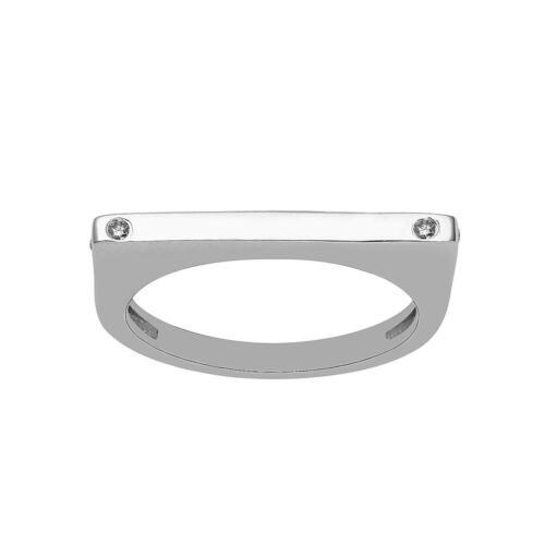 925 Sterling Silver White Topaz Gemstone Solid Plain Bar Designer Ring Jewelry