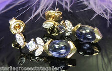 Amethyst 7 x 5 mm and Diamond Dangling 10K Yellow Gold Estate Post Earrings