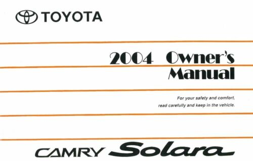 2004 Toyota Camry Solara Owners Manual User Guide Reference ...