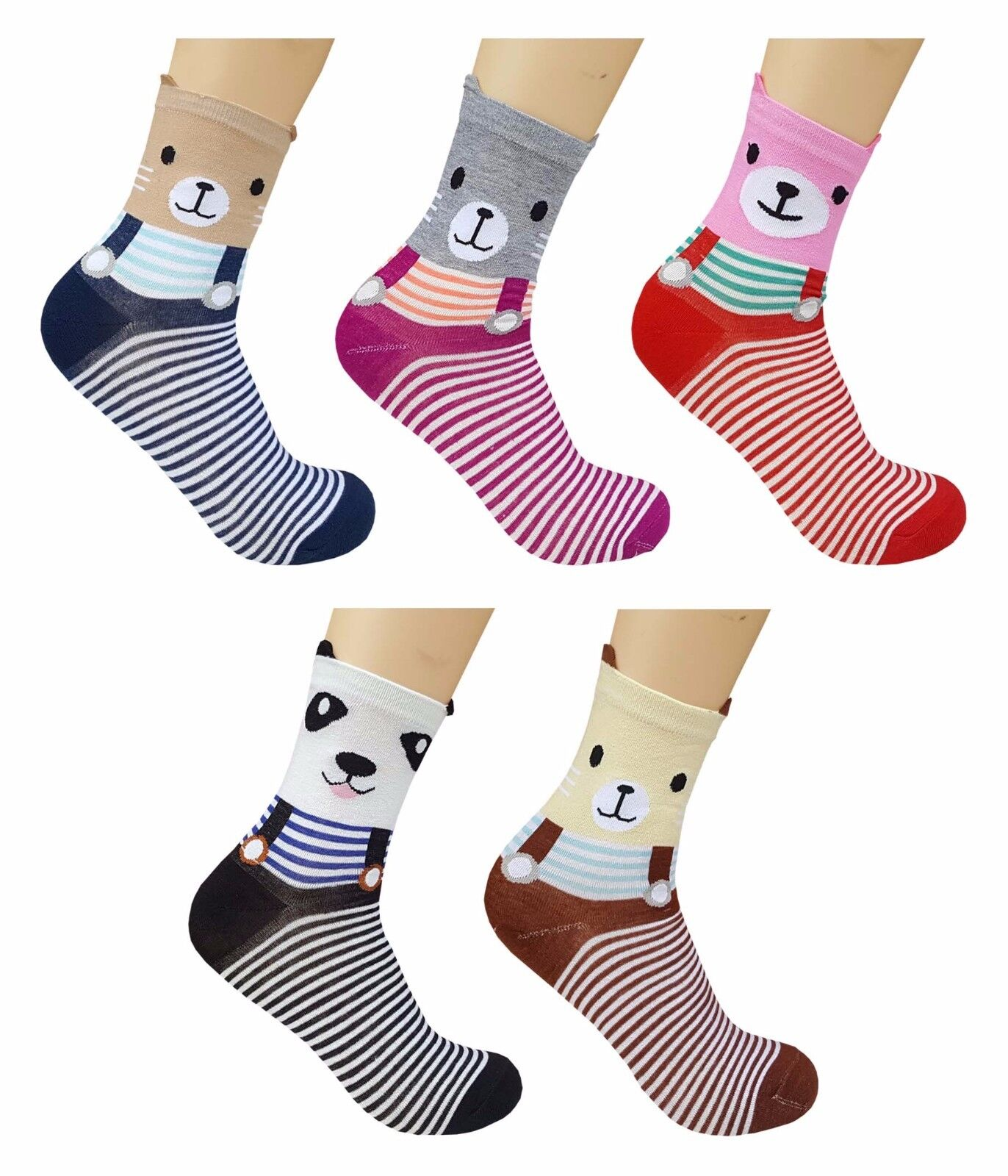BLUE REEF Socken Damen Süß Schwein Bär Hund Spaß Neuheit Knöchel Socken 2-5