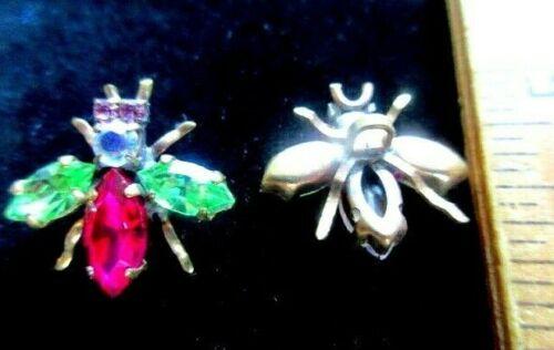 2 Czech Vintage Style Glass Rhinestone Buttons   HOT PINK /& PERIDOT GREEN  BUGS