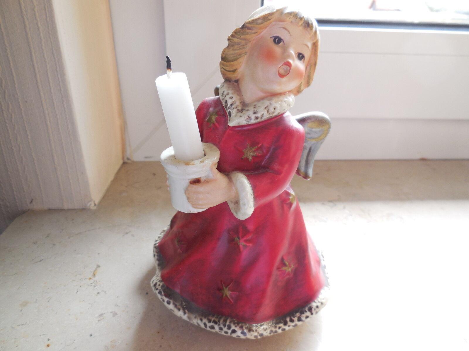 Goebel, Weihnachtsengel, rot, HX328, 1966 mit Musik, Kerzenhalter 16cm gebraucht | Bequeme Berührung