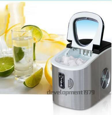 220V Stainless Commercial Ice Cube Maker Portable Ice Machine Restaurant #Purple